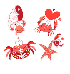set in love with red crabs vector image