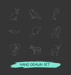 Set of animal icons line style symbols with deer vector