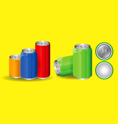 set of drinking soda water in aluminium can vector image