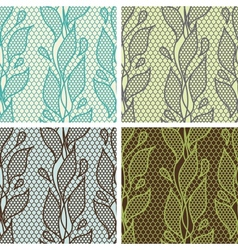 Set of lace seamless patterns with abstract vector