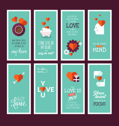 Set valentines day greeting cards vector