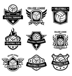 set volleyball sport emblems design element vector image