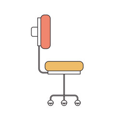 Silhouette color section of office chair with vector