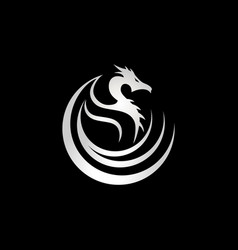 silver dragon tribal logo sign symbol icon vector image