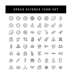 space and science icon set with black color vector image
