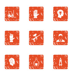 Sparring icons set grunge style vector