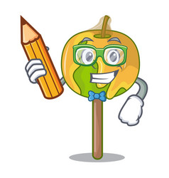 Student candy apple character cartoon vector