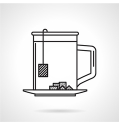 Tea mug black line icon vector image