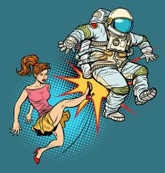 The woman kicks an astronaut family quarrel vector