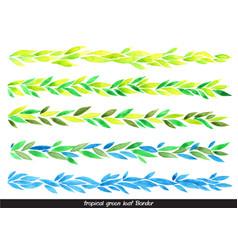 Tropical green leaves watercolor border vector