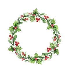Watercolor christmas wreath with green vector