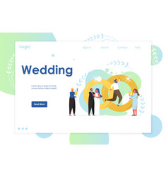 Wedding website landing page design vector