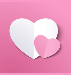 white paper cut love heart for valentines day or vector image