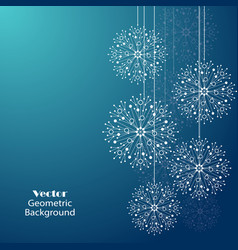 White snowflakes made of connected lines and dots vector
