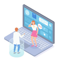 woman with headache consulting online with doctor vector image