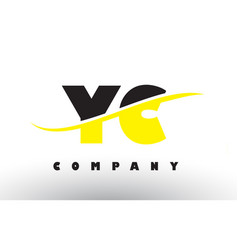 yc y c black and yellow letter logo with swoosh vector image
