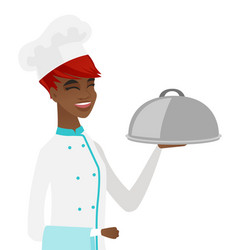 young african chef holding towel and cloche vector image
