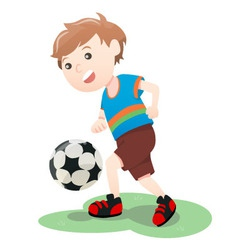 Boy Playing Soccer Ball Cartoon vector image