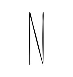 capital letter n painted by brush vector image