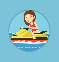 caucasian woman training on jet ski in the sea vector image