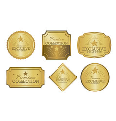 exclusive collection sale golden badge set gold vector image