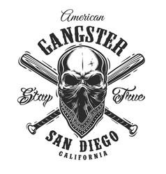 gangster emblem with skull in bandana vector image vector image
