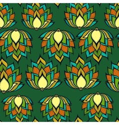 Retro pattern with green handdrawn flowers vector image