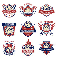 Volleyball emblems on white background design vector