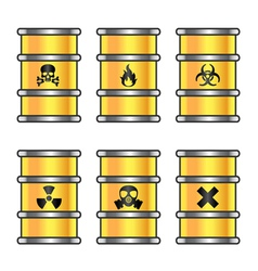 Yellow metallic barrels with warning sign vector image