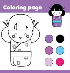 coloring page with cute japanese kokeshi doll vector image vector image