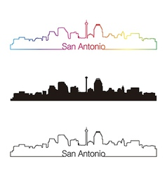 San Antonio skyline linear style with rainbow vector image