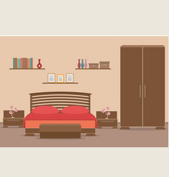 bedroom design interior with furniture bed vector image