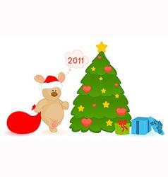 Christmas bear vector image