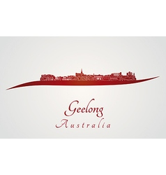 Geelong skyline in red vector image