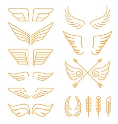 set of linear icons - wings vector image vector image