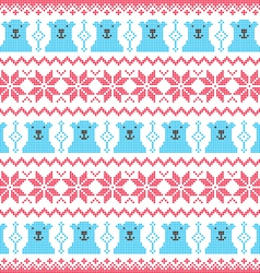 Winter Christmas red and bear seamless pixelated vector image vector image