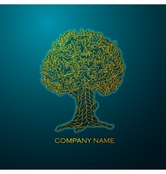 Business logo elegant gold tree vector image