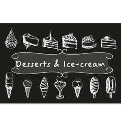 Chalk desserts and ice-cream set vector image vector image