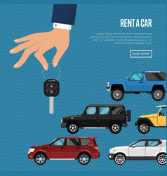rent a car poster with hand holding auto key vector image vector image