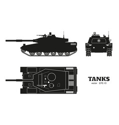 silhouette of realistic tank blueprint vector image