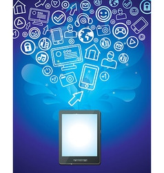 tablet pc with bright social media icons - vector image vector image