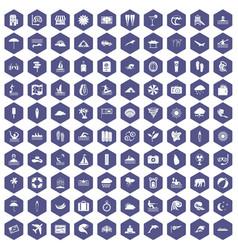 100 surfing icons hexagon purple vector