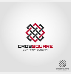abstract cross square logo template vector image