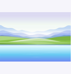 Abstract landscape with mountains and lake vector