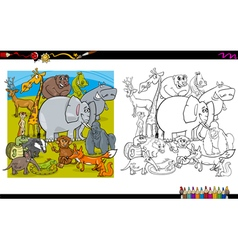 Animal characters coloring book vector