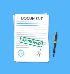 Approved document with stamp and pen modern flat vector