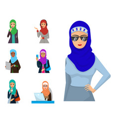arabic woman adult character arabian asia vector image