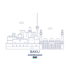 Baku city skyline vector
