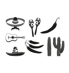 Black and white 8 mexican elements vector
