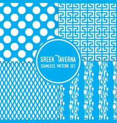 Blue greek tavern theme ornaments dots and vector